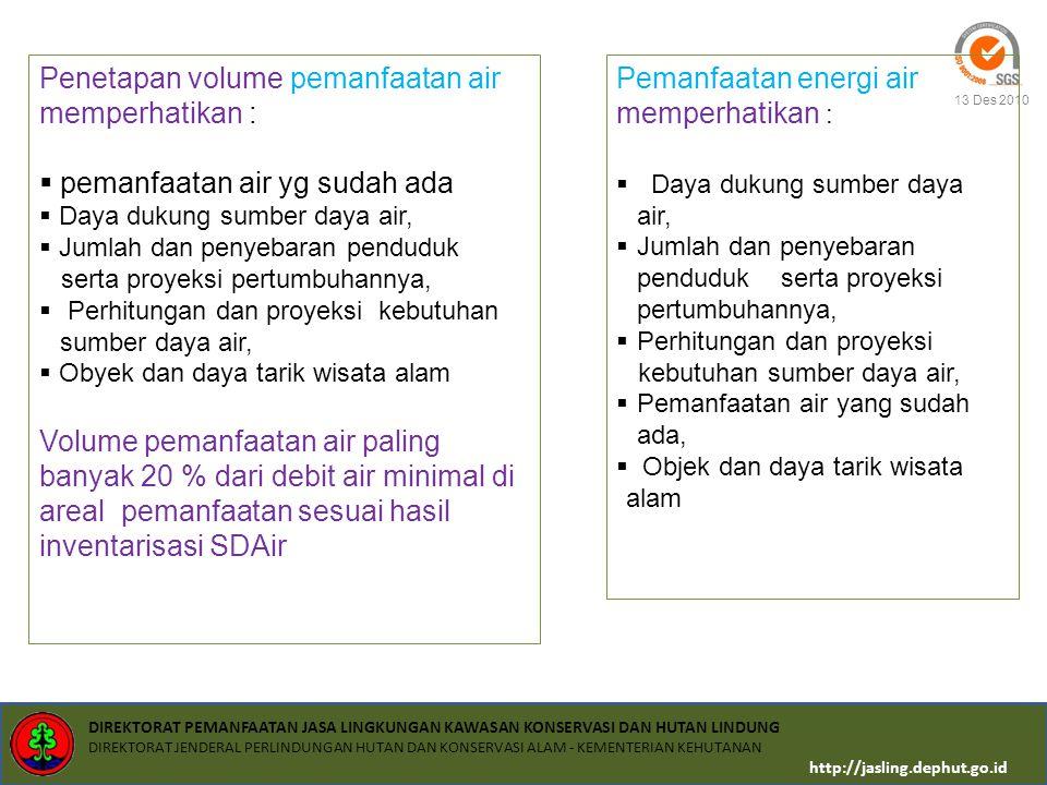 Penetapan volume pemanfaatan air memperhatikan :