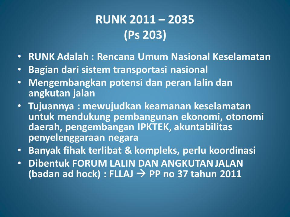 RUNK 2011 – 2035 (Ps 203) RUNK Adalah : Rencana Umum Nasional Keselamatan. Bagian dari sistem transportasi nasional.