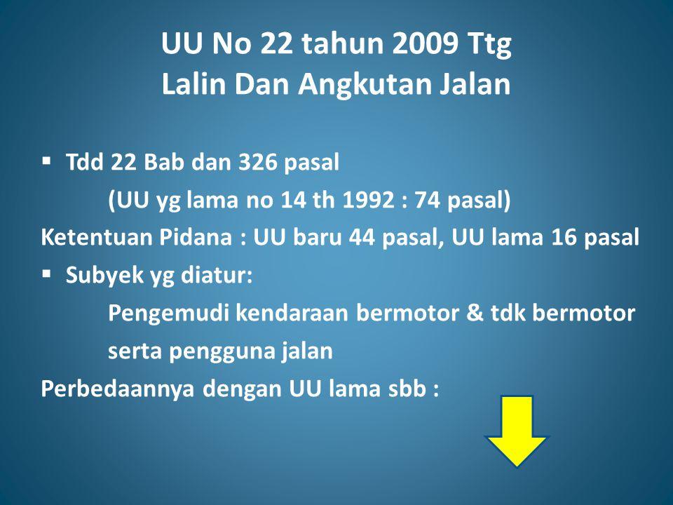 UU No 22 tahun 2009 Ttg Lalin Dan Angkutan Jalan