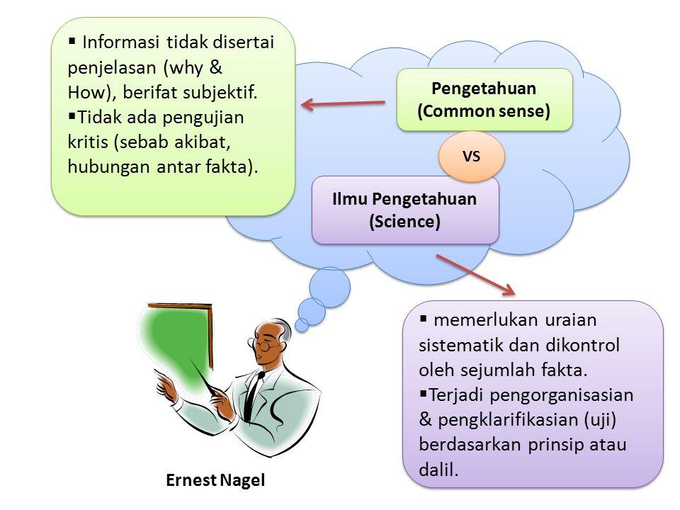 Informasi tidak disertai penjelasan (why & How), berifat subjektif.