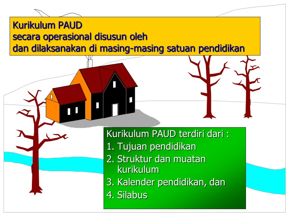Kurikulum PAUD secara operasional disusun oleh dan dilaksanakan di masing-masing satuan pendidikan