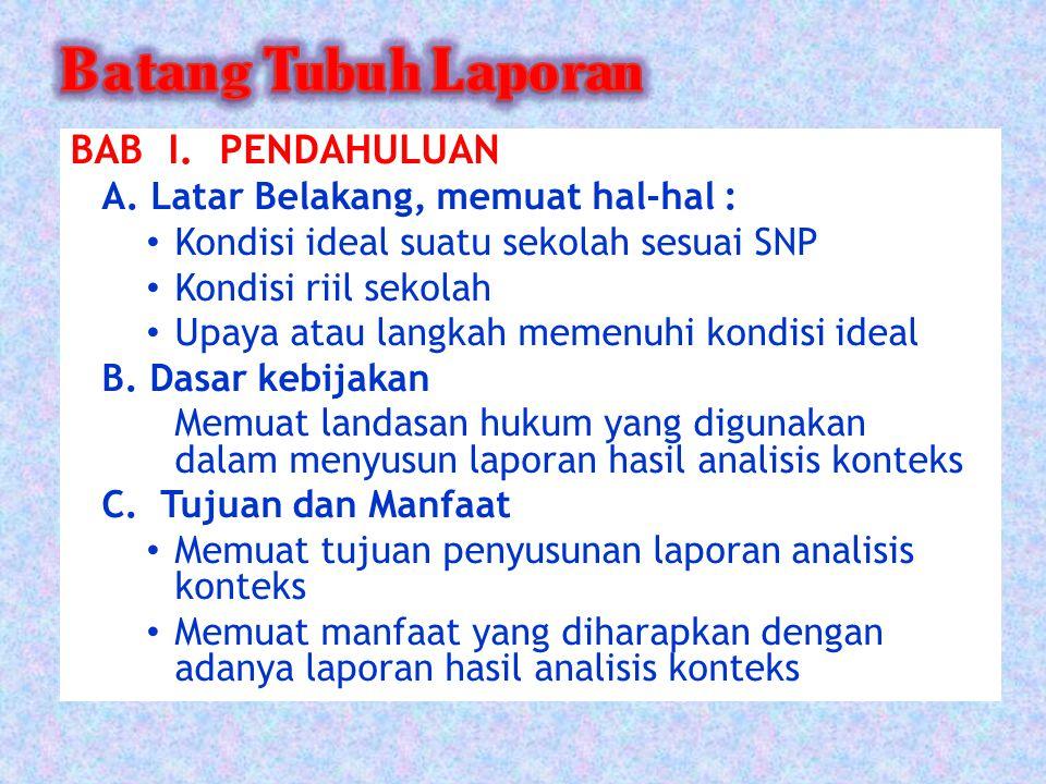 BAB I. PENDAHULUAN A. Latar Belakang, memuat hal-hal :