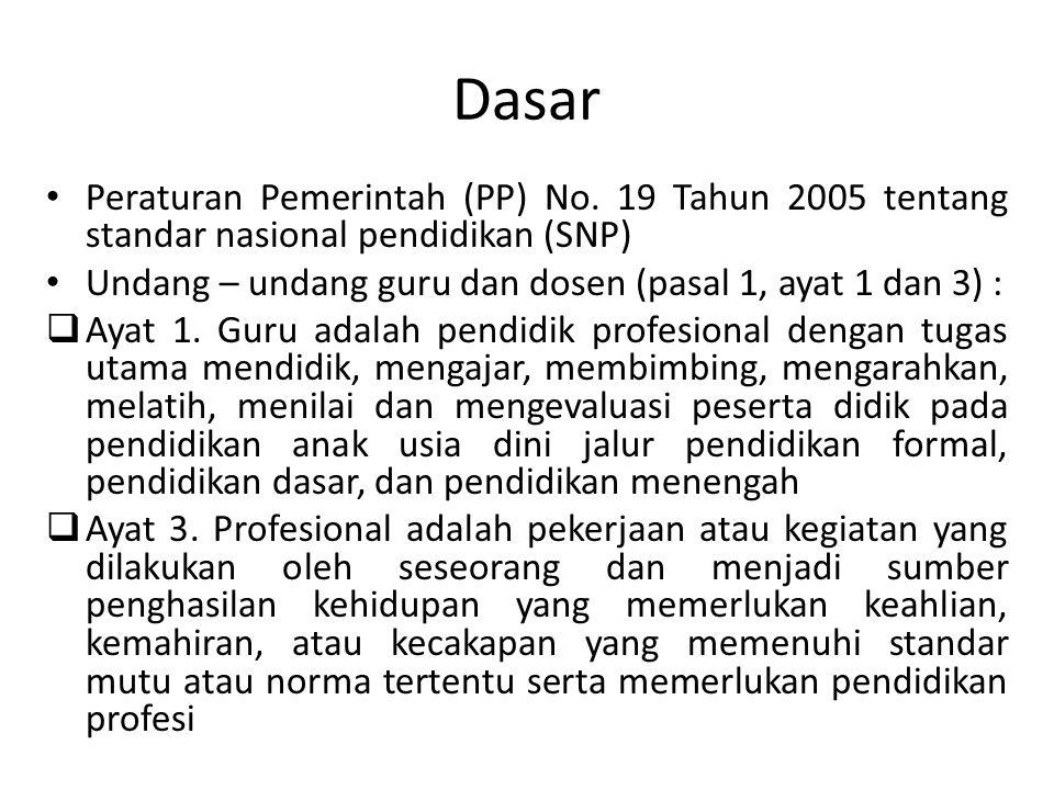 Dasar Peraturan Pemerintah (PP) No. 19 Tahun 2005 tentang standar nasional pendidikan (SNP) Undang – undang guru dan dosen (pasal 1, ayat 1 dan 3) :