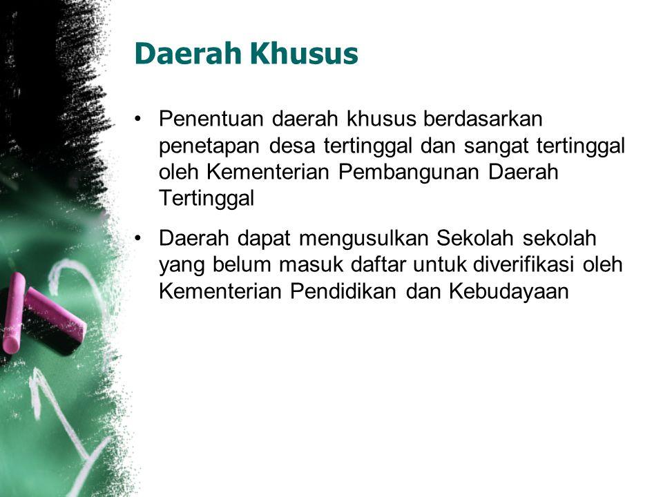 Daerah Khusus Penentuan daerah khusus berdasarkan penetapan desa tertinggal dan sangat tertinggal oleh Kementerian Pembangunan Daerah Tertinggal.