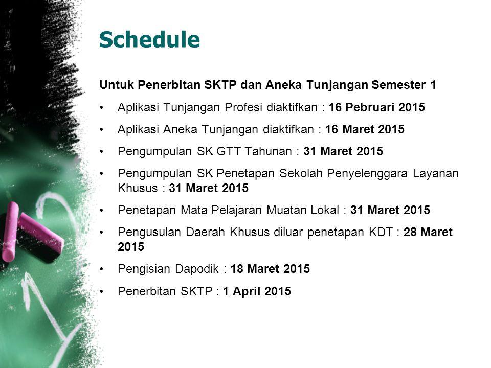 Schedule Untuk Penerbitan SKTP dan Aneka Tunjangan Semester 1