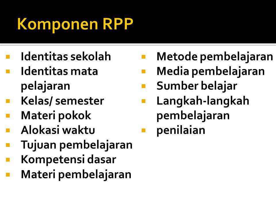 Komponen RPP Identitas sekolah Metode pembelajaran