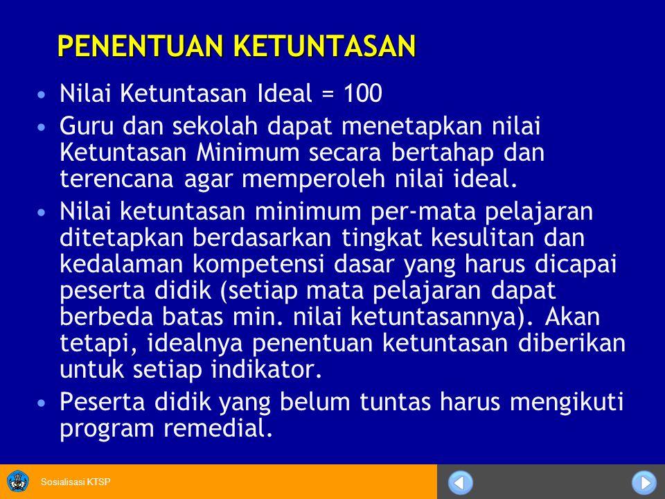 PENENTUAN KETUNTASAN Nilai Ketuntasan Ideal = 100