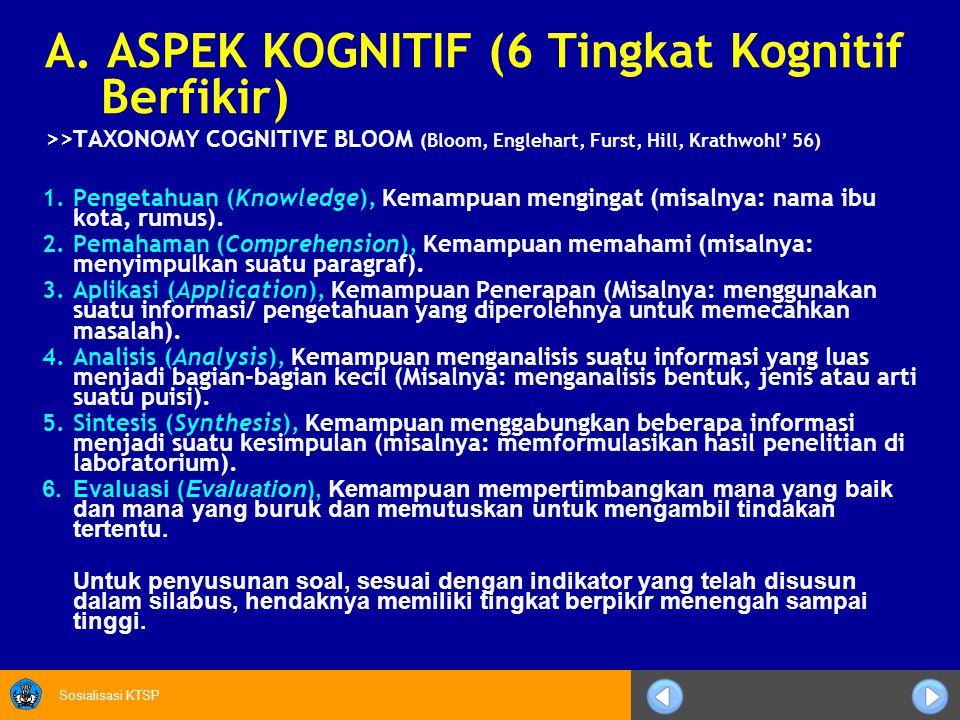 A. ASPEK KOGNITIF (6 Tingkat Kognitif Berfikir)