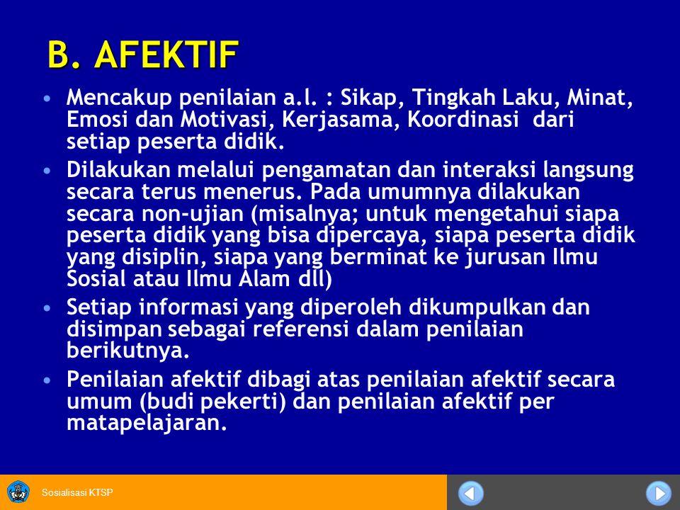 B. AFEKTIF Mencakup penilaian a.l. : Sikap, Tingkah Laku, Minat, Emosi dan Motivasi, Kerjasama, Koordinasi dari setiap peserta didik.