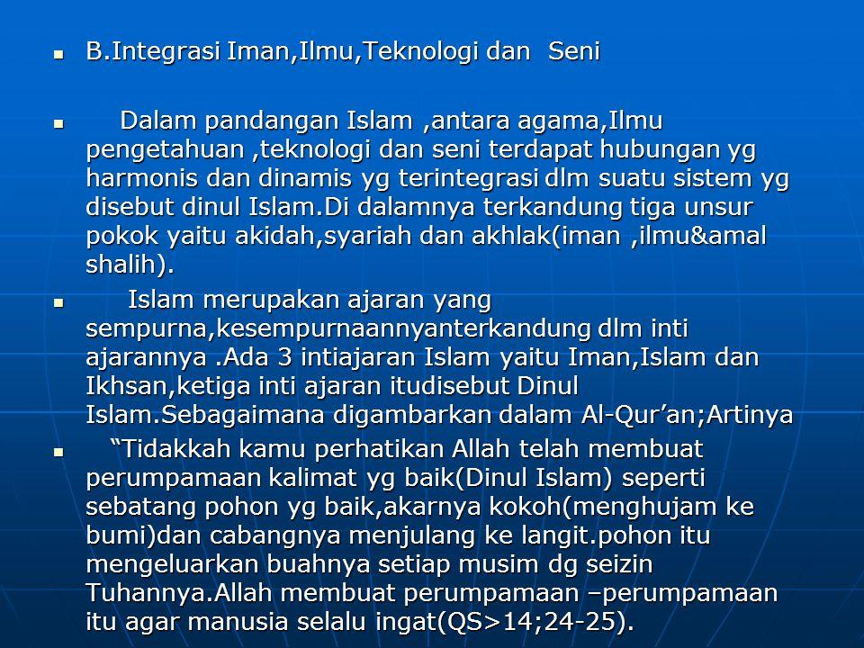 B.Integrasi Iman,Ilmu,Teknologi dan Seni