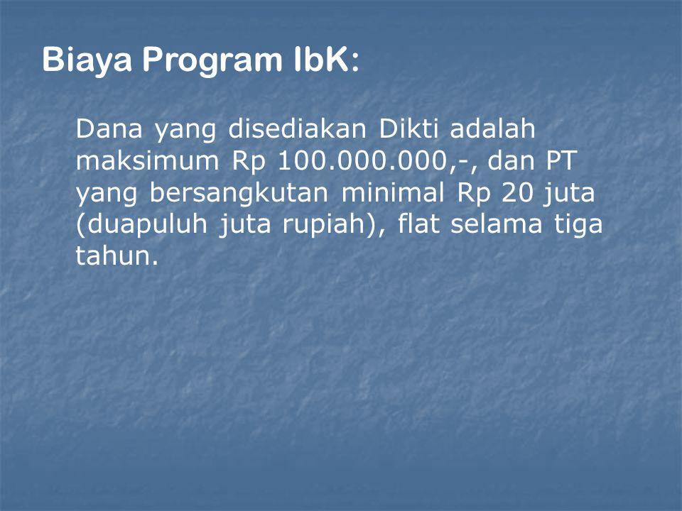 Biaya Program IbK: