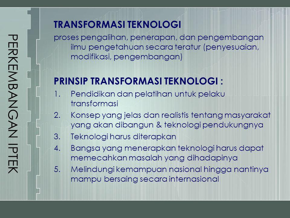 PERKEMBANGAN IPTEK TRANSFORMASI TEKNOLOGI