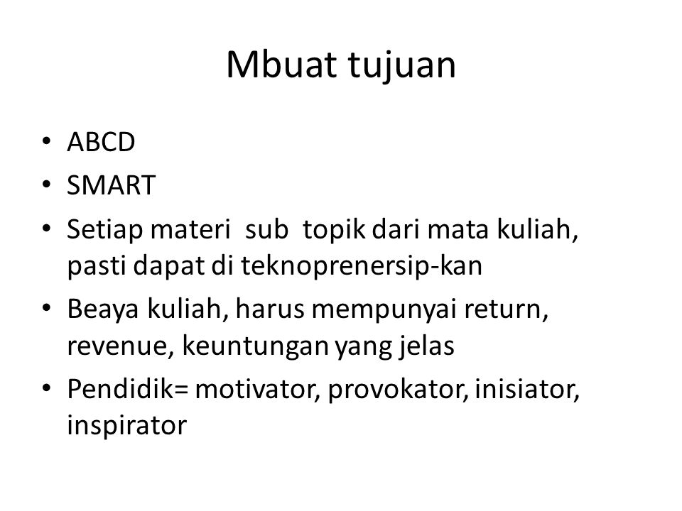 Mbuat tujuan ABCD SMART