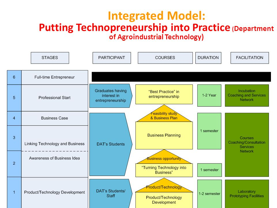 Integrated Model: Putting Technopreneurship into Practice (Department of Agroindustrial Technology)