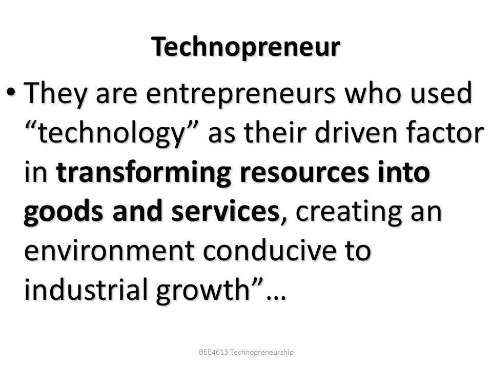 BEE4613 Technopreneurship