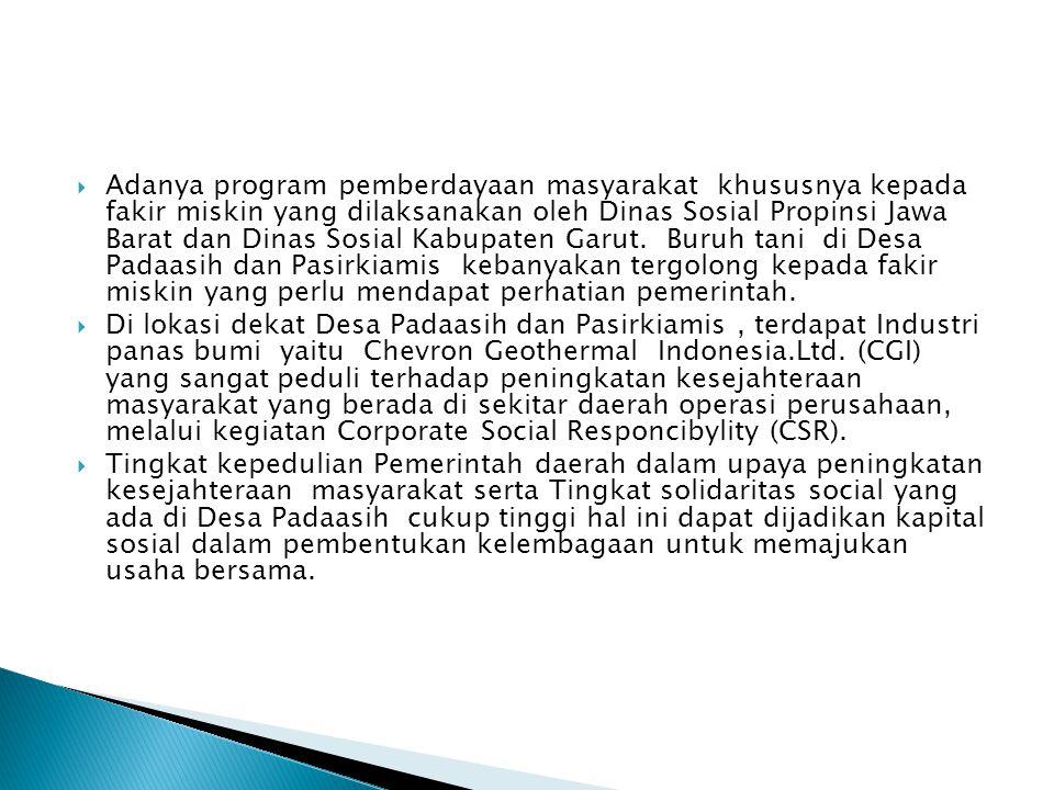 Adanya program pemberdayaan masyarakat khususnya kepada fakir miskin yang dilaksanakan oleh Dinas Sosial Propinsi Jawa Barat dan Dinas Sosial Kabupaten Garut. Buruh tani di Desa Padaasih dan Pasirkiamis kebanyakan tergolong kepada fakir miskin yang perlu mendapat perhatian pemerintah.
