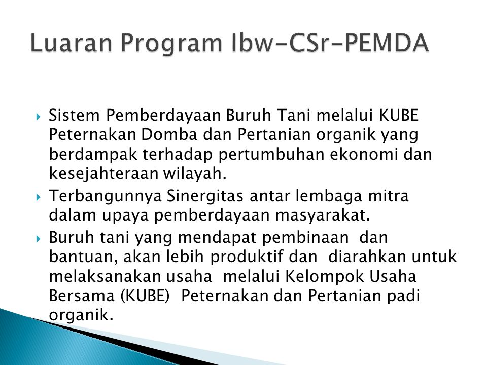 Luaran Program Ibw-CSr-PEMDA