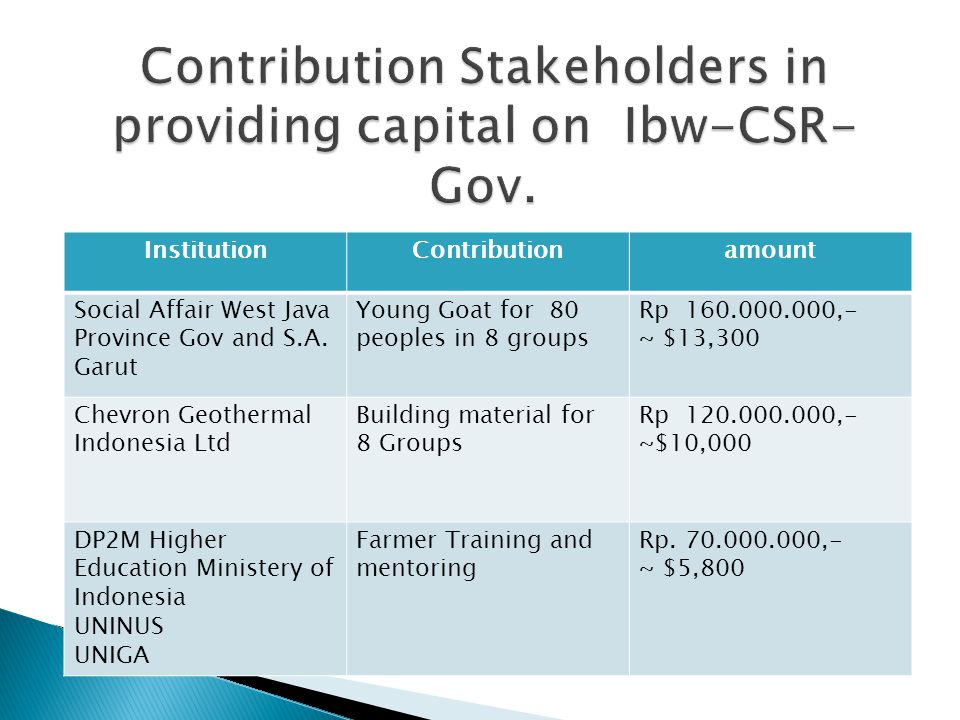 Contribution Stakeholders in providing capital on Ibw-CSR-Gov.