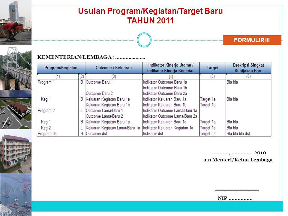 Usulan Program/Kegiatan/Target Baru