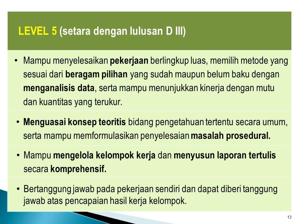 LEVEL 5 (setara dengan lulusan D III)