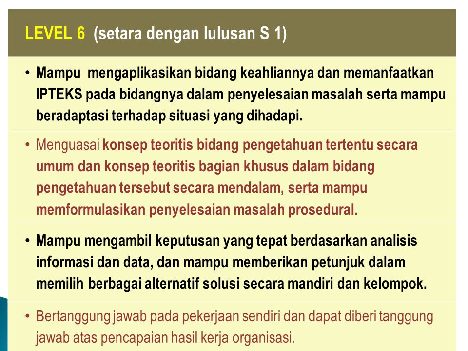 LEVEL 6 (setara dengan lulusan S 1)