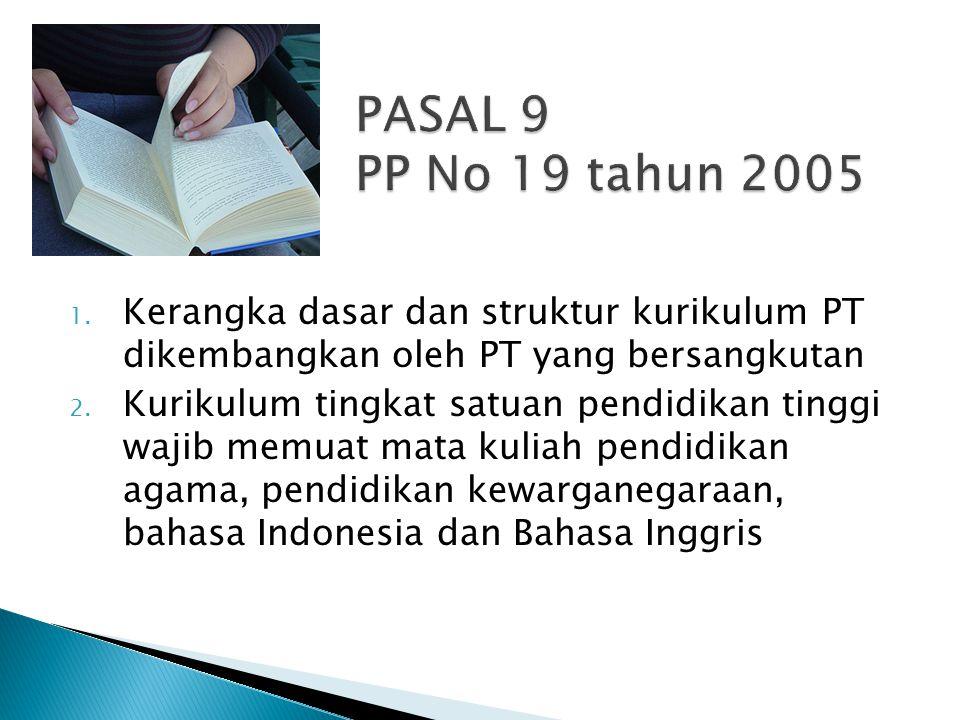 PASAL 9 PP No 19 tahun 2005 Kerangka dasar dan struktur kurikulum PT dikembangkan oleh PT yang bersangkutan.