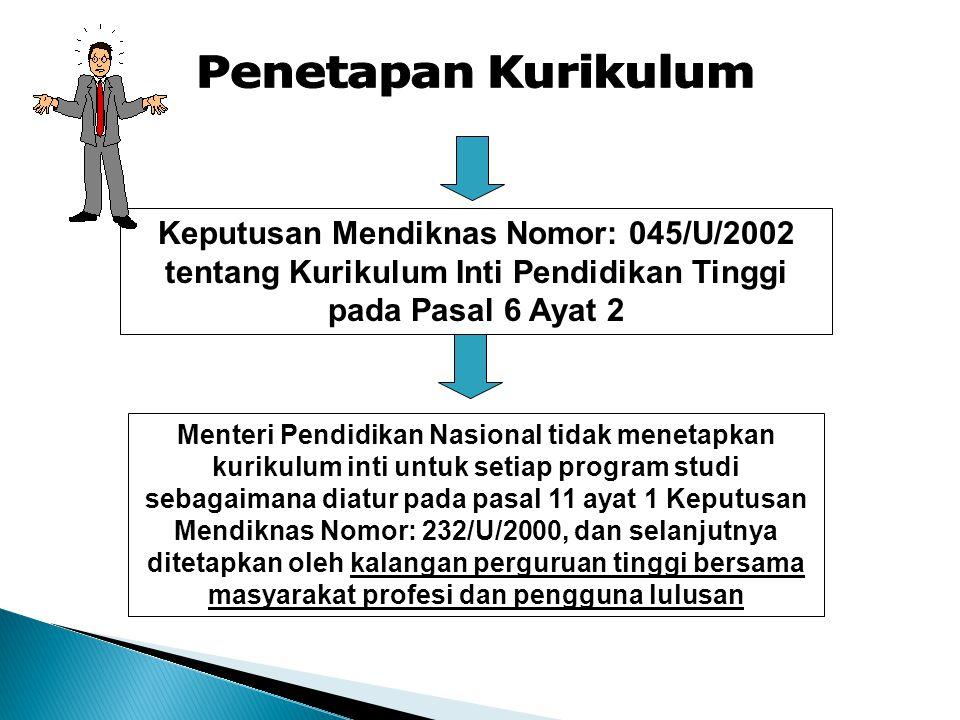 Keputusan Mendiknas Nomor: 045/U/2002 tentang Kurikulum Inti Pendidikan Tinggi pada Pasal 6 Ayat 2
