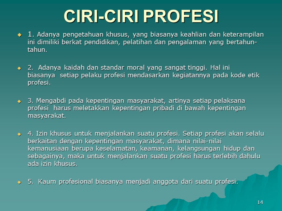 CIRI-CIRI PROFESI