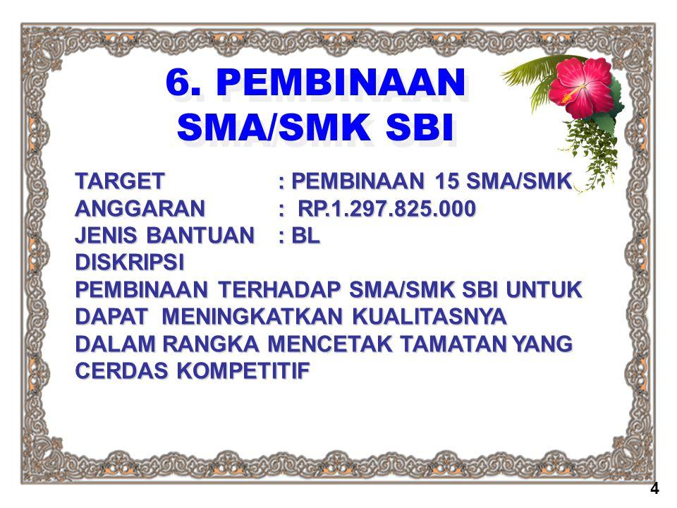 6. PEMBINAAN SMA/SMK SBI TARGET : PEMBINAAN 15 SMA/SMK
