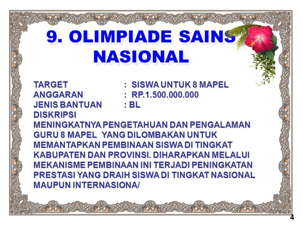 9. OLIMPIADE SAINS NASIONAL