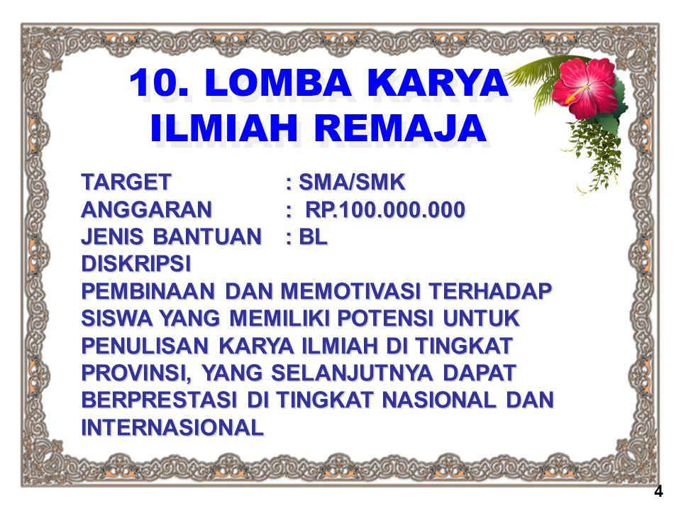 10. LOMBA KARYA ILMIAH REMAJA