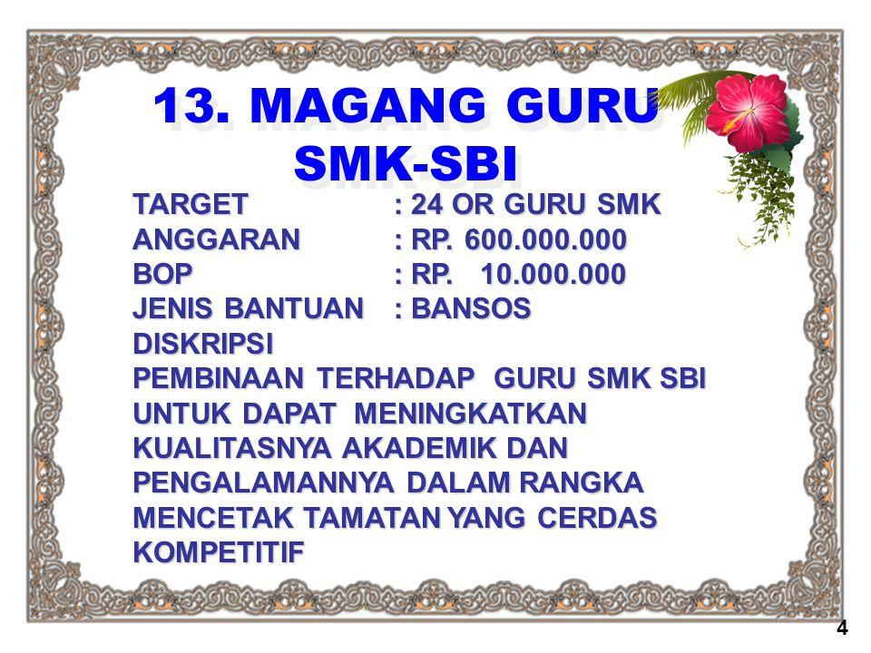 13. MAGANG GURU SMK-SBI TARGET : 24 OR GURU SMK