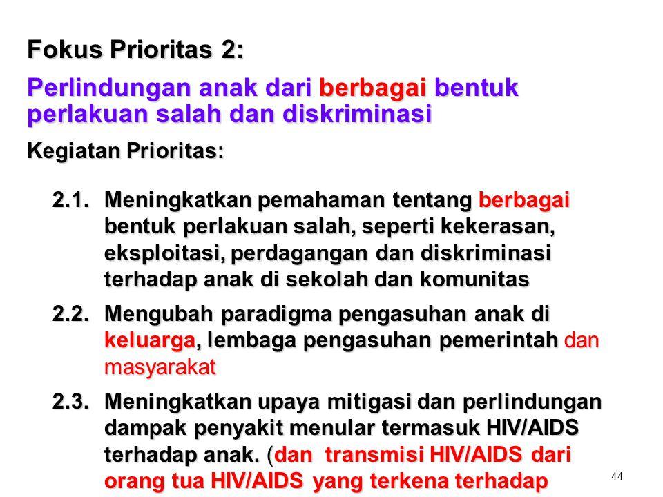 Fokus Prioritas 2: Perlindungan anak dari berbagai bentuk perlakuan salah dan diskriminasi. Kegiatan Prioritas: