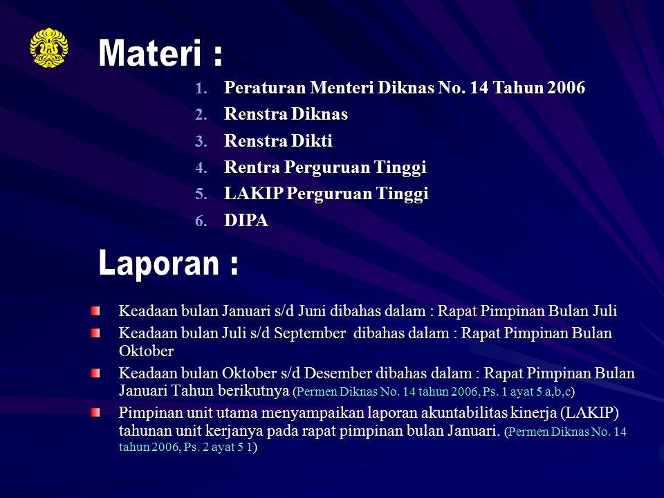Materi : Laporan : Peraturan Menteri Diknas No. 14 Tahun 2006
