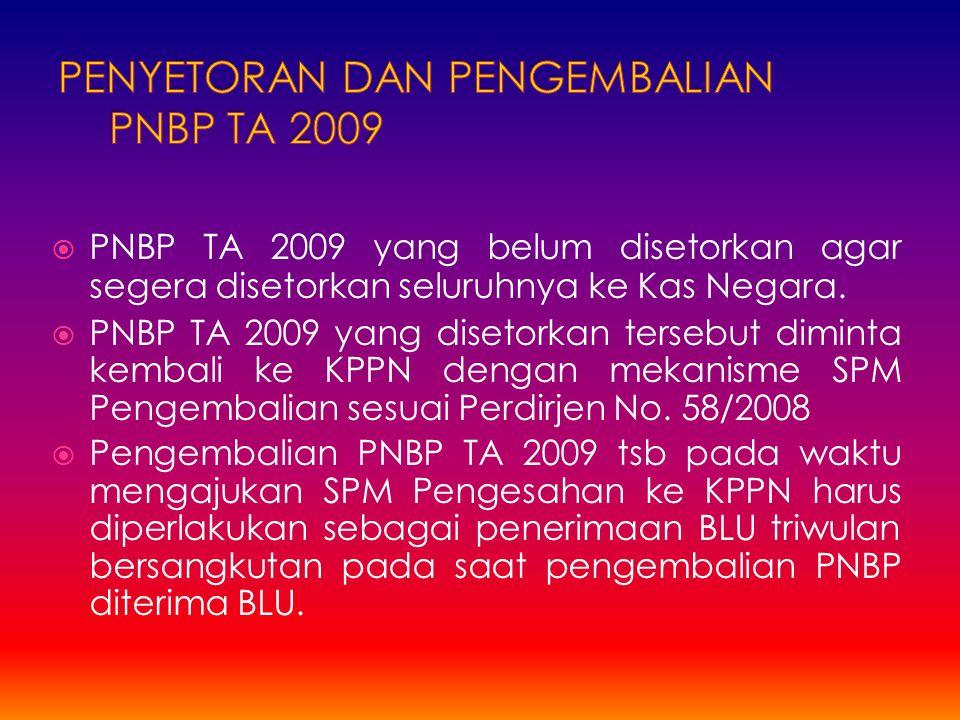 PENYETORAN DAN PENGEMBALIAN PNBP TA 2009