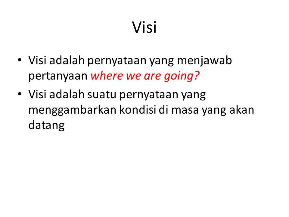 Visi Visi adalah pernyataan yang menjawab pertanyaan where we are going