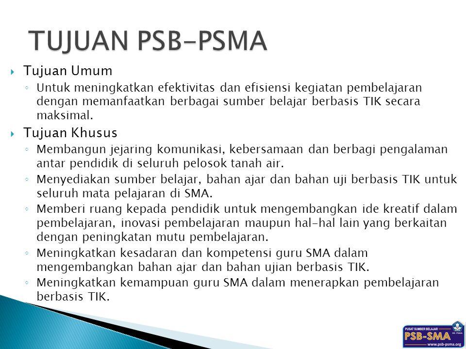 TUJUAN PSB-PSMA Tujuan Umum Tujuan Khusus