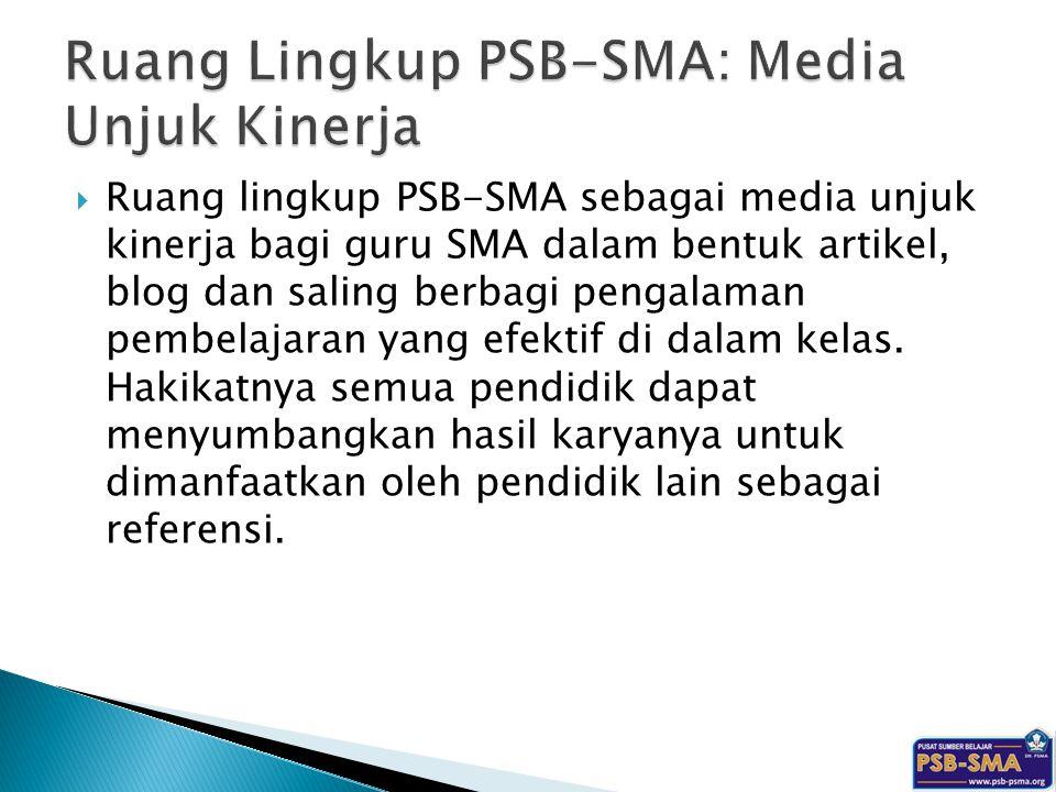 Ruang Lingkup PSB-SMA: Media Unjuk Kinerja