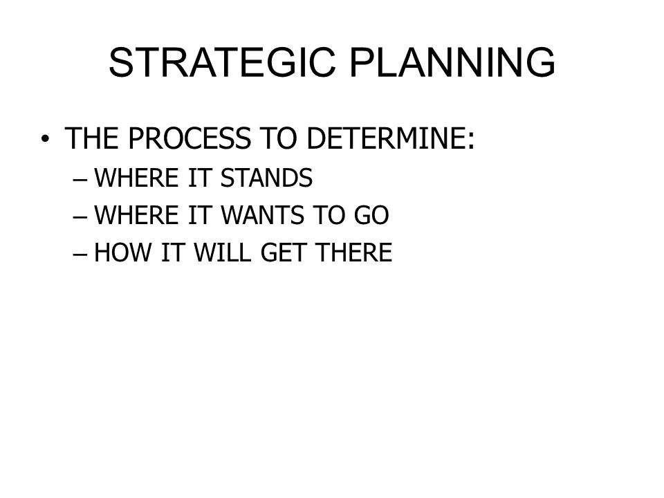 STRATEGIC PLANNING THE PROCESS TO DETERMINE: WHERE IT STANDS