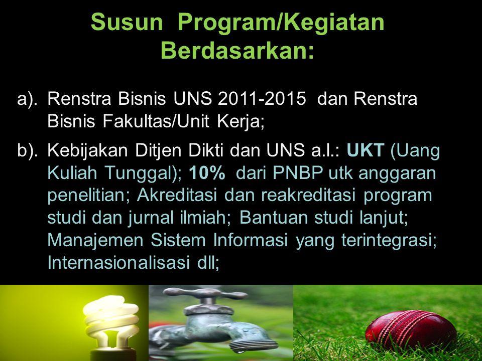 Susun Program/Kegiatan Berdasarkan: