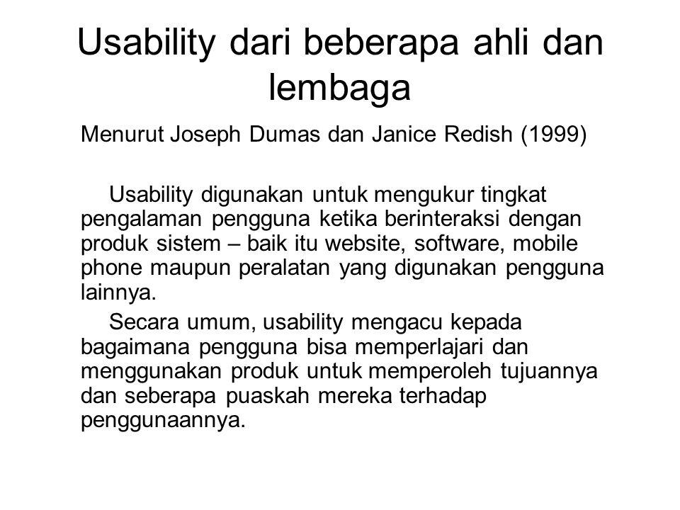 Usability dari beberapa ahli dan lembaga