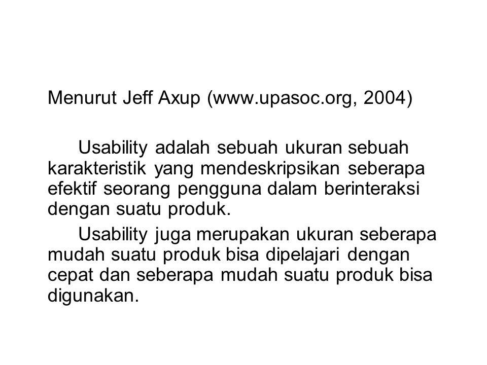 Menurut Jeff Axup (www.upasoc.org, 2004)
