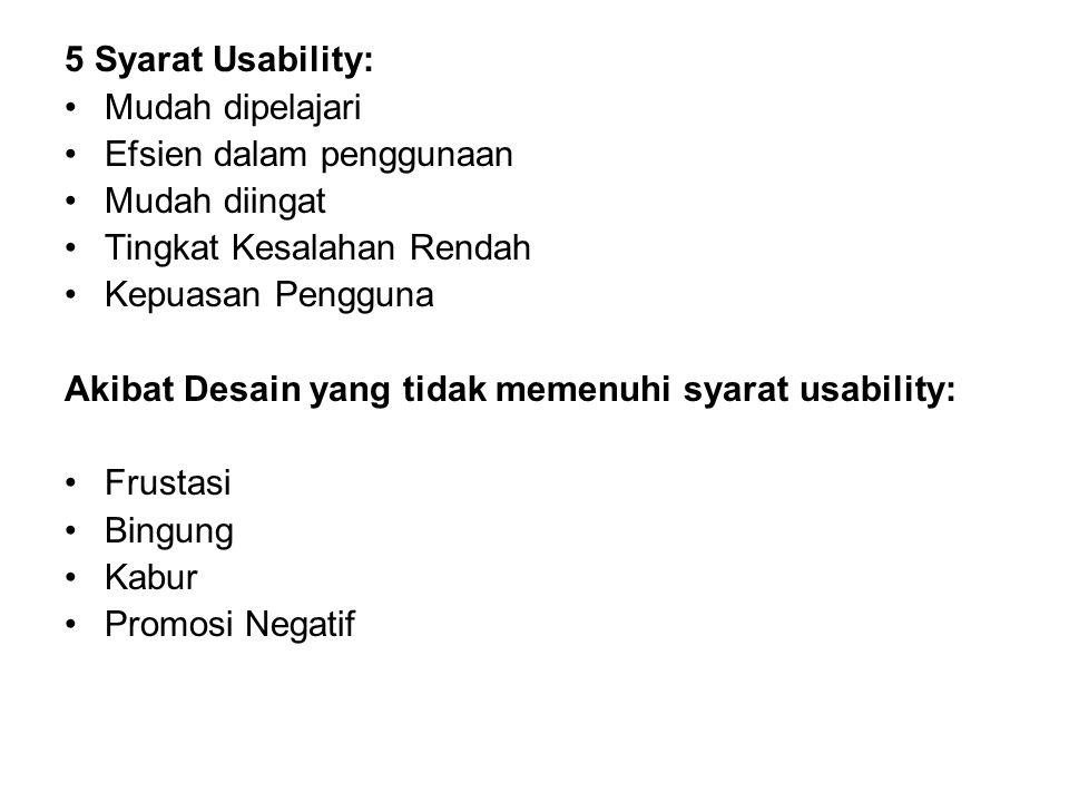 5 Syarat Usability: Mudah dipelajari. Efsien dalam penggunaan. Mudah diingat. Tingkat Kesalahan Rendah.