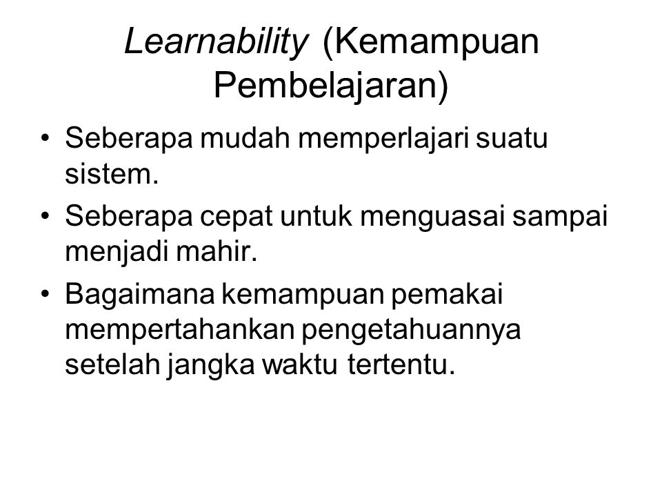 Learnability (Kemampuan Pembelajaran)