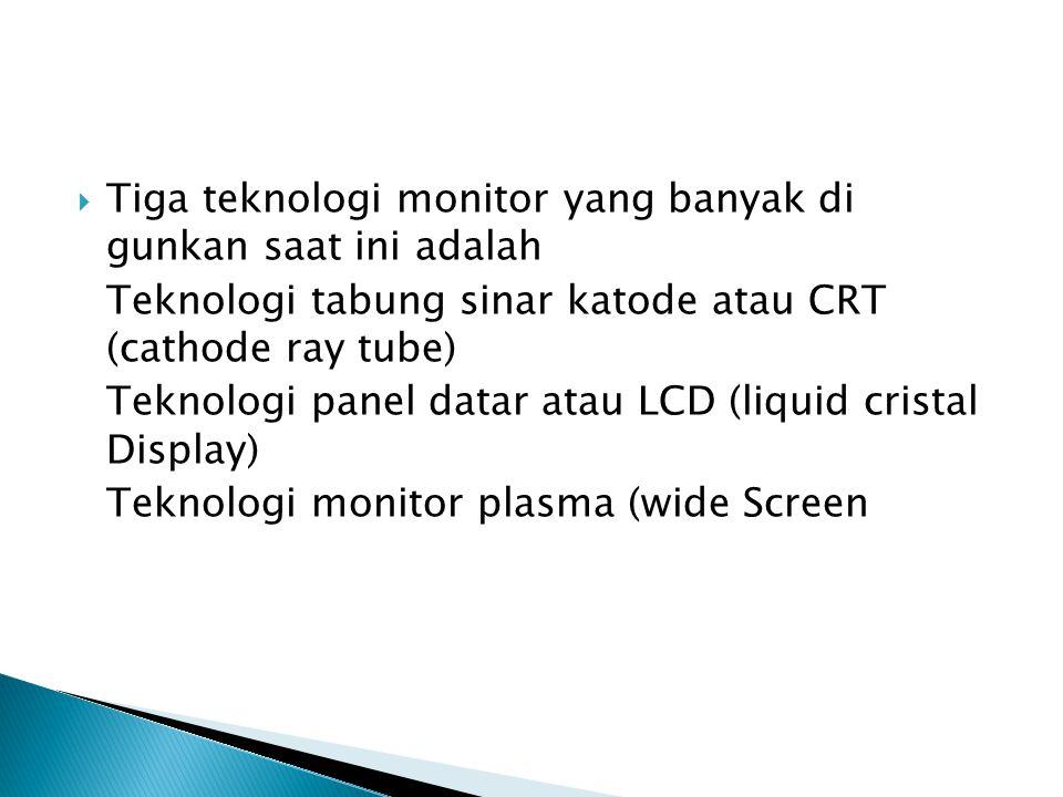 Tiga teknologi monitor yang banyak di gunkan saat ini adalah