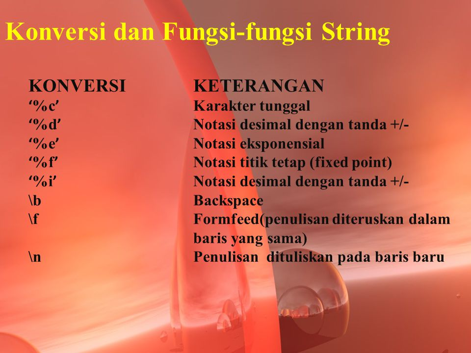 Konversi dan Fungsi-fungsi String