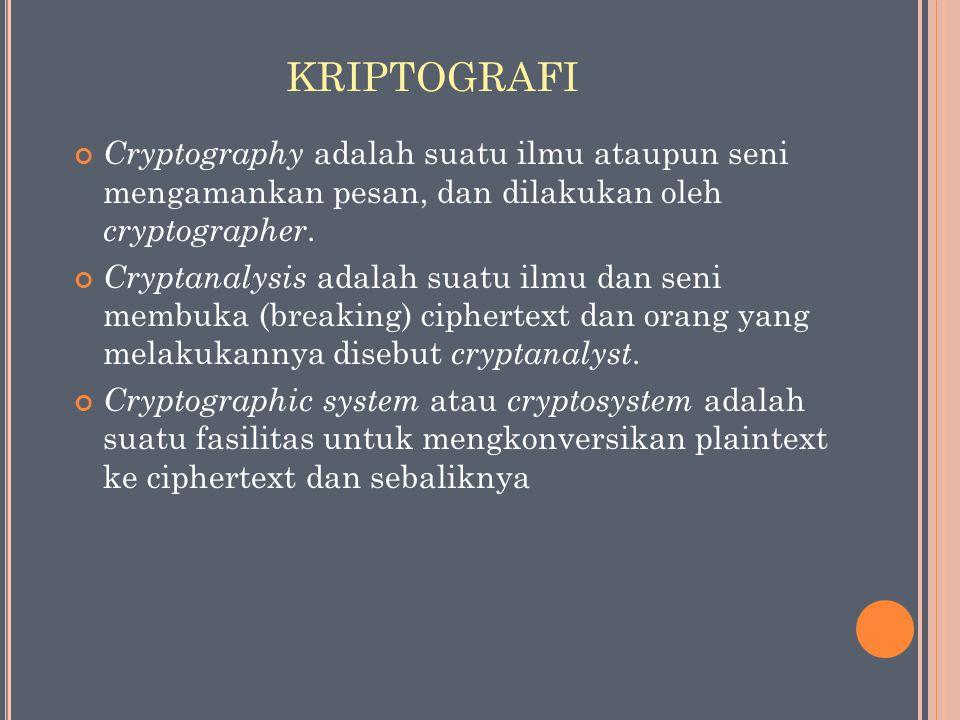 KRIPTOGRAFI Cryptography adalah suatu ilmu ataupun seni mengamankan pesan, dan dilakukan oleh cryptographer.