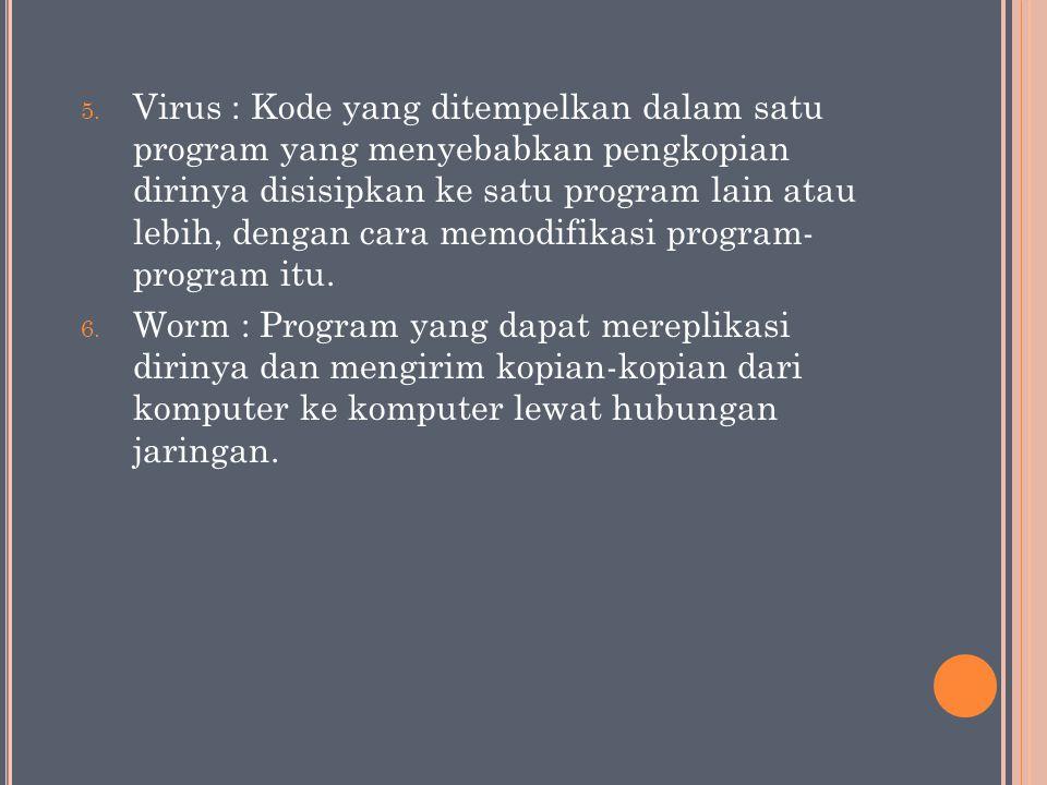 Virus : Kode yang ditempelkan dalam satu program yang menyebabkan pengkopian dirinya disisipkan ke satu program lain atau lebih, dengan cara memodifikasi program- program itu.