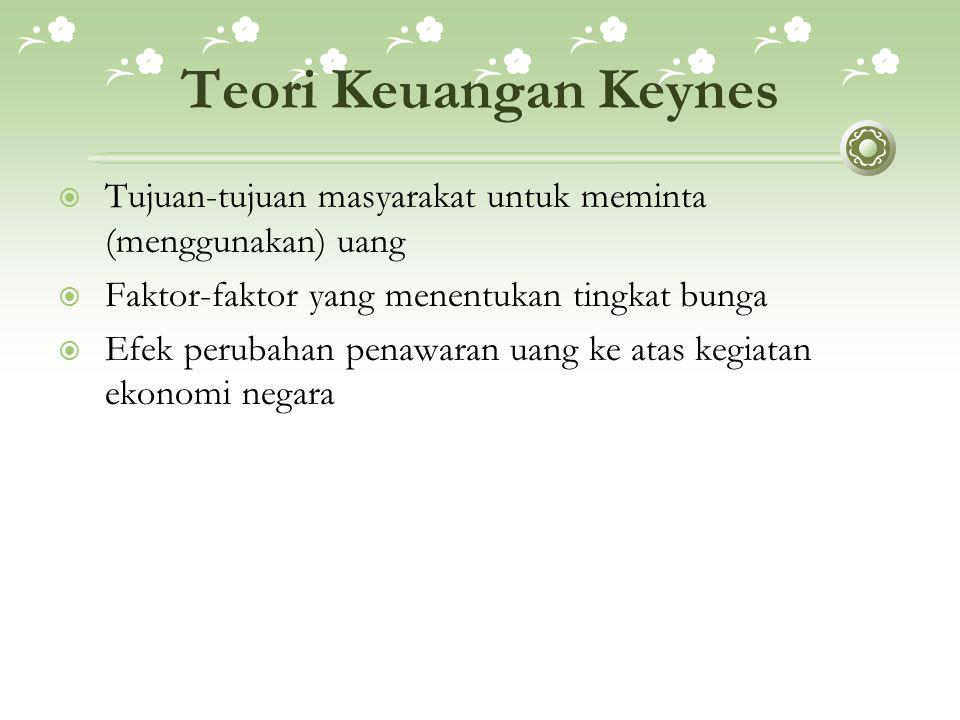Teori Keuangan Keynes Tujuan-tujuan masyarakat untuk meminta (menggunakan) uang. Faktor-faktor yang menentukan tingkat bunga.