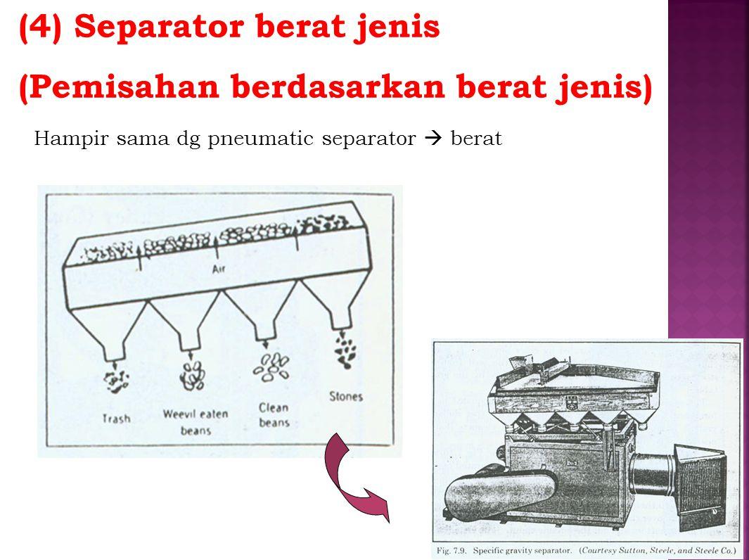 (4) Separator berat jenis (Pemisahan berdasarkan berat jenis)